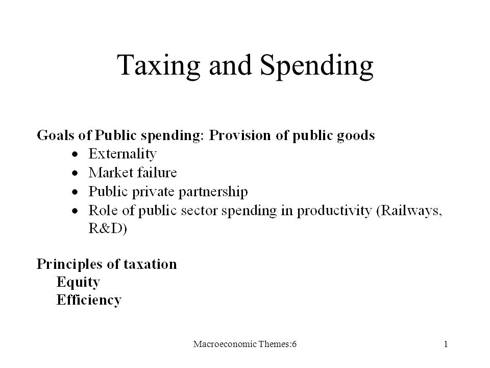 Macroeconomic Themes:61 Taxing and Spending