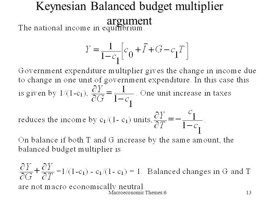 Macroeconomic Themes:613 Keynesian Balanced budget multiplier argument