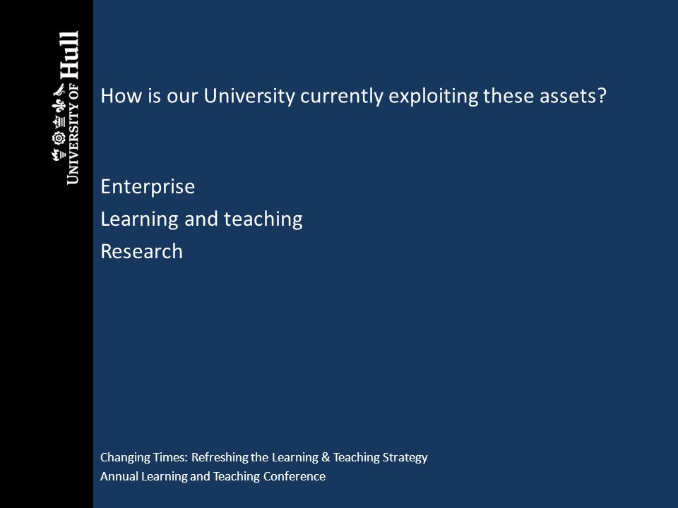How is our University currently exploiting these assets? Changing Times: Refreshing the Learning & Teaching Strategy Annual Learning and Teaching Conf