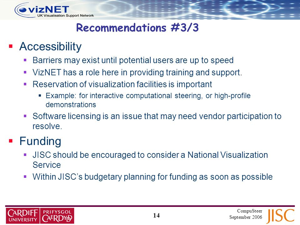 14 CompuSteer September 2006 Recommendations #3/3 Accessibility Barriers may exist until potential users are up to speed VizNET has a role here in providing training and support.