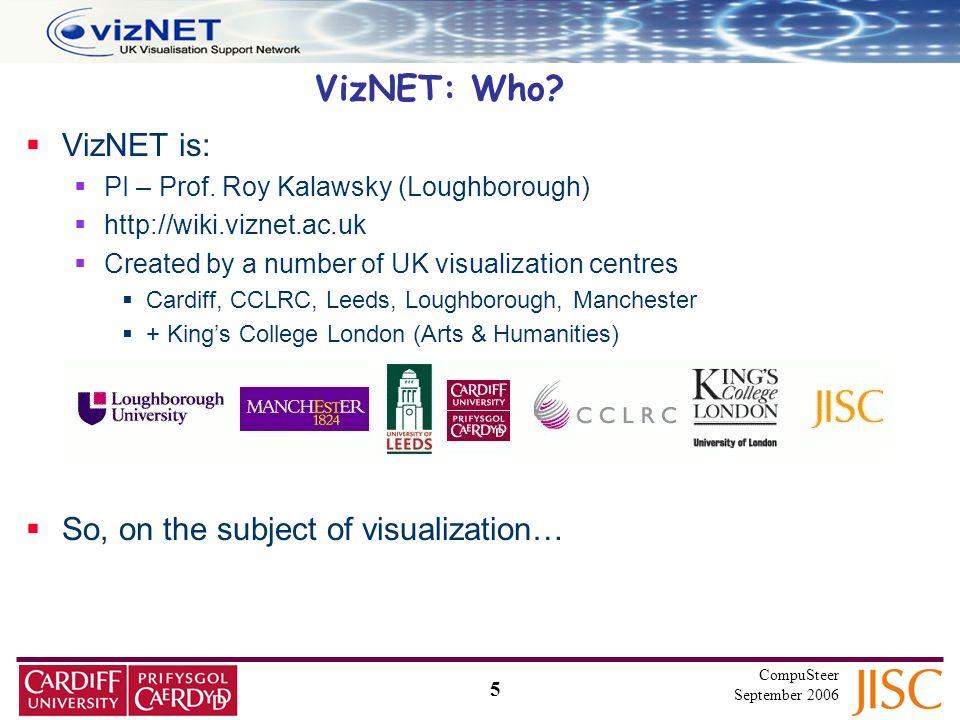 5 CompuSteer September 2006 VizNET is: PI – Prof.
