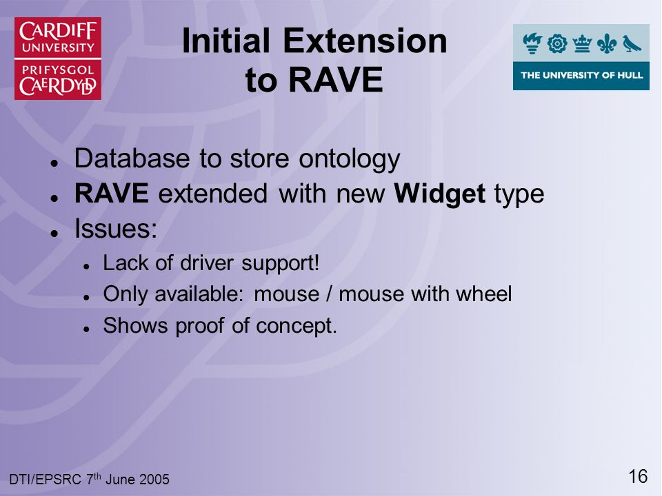 16 DTI/EPSRC 7 th June 2005 Initial Extension to RAVE Database to store ontology RAVE extended with new Widget type Issues: Lack of driver support.