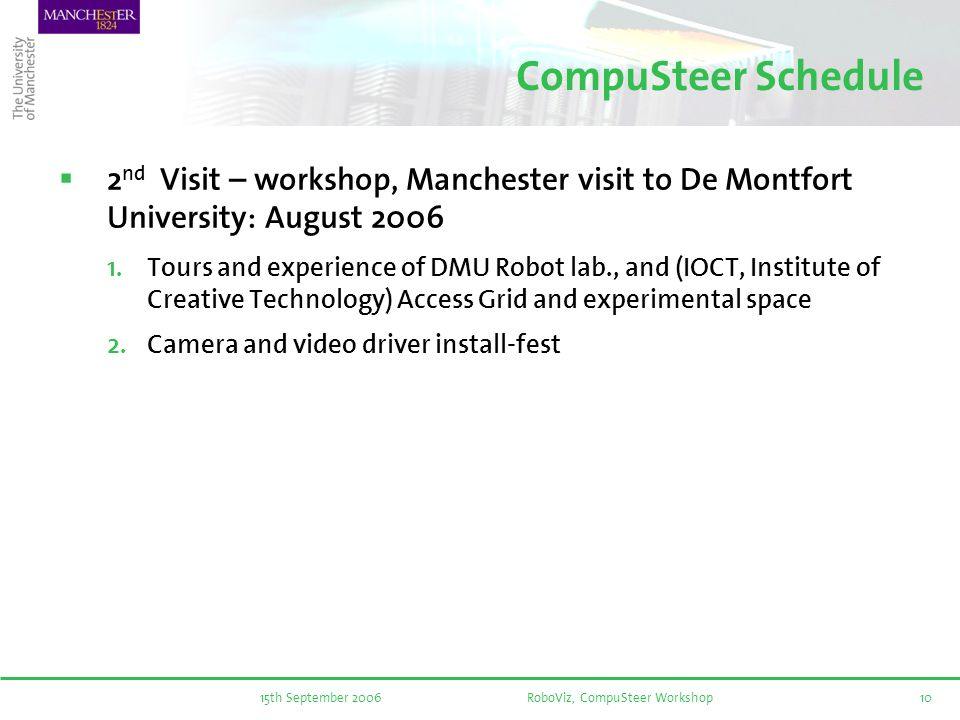 15th September 2006RoboViz, CompuSteer Workshop10 CompuSteer Schedule 2 nd Visit – workshop, Manchester visit to De Montfort University: August 2006 Tours and experience of DMU Robot lab., and (IOCT, Institute of Creative Technology) Access Grid and experimental space Camera and video driver install-fest