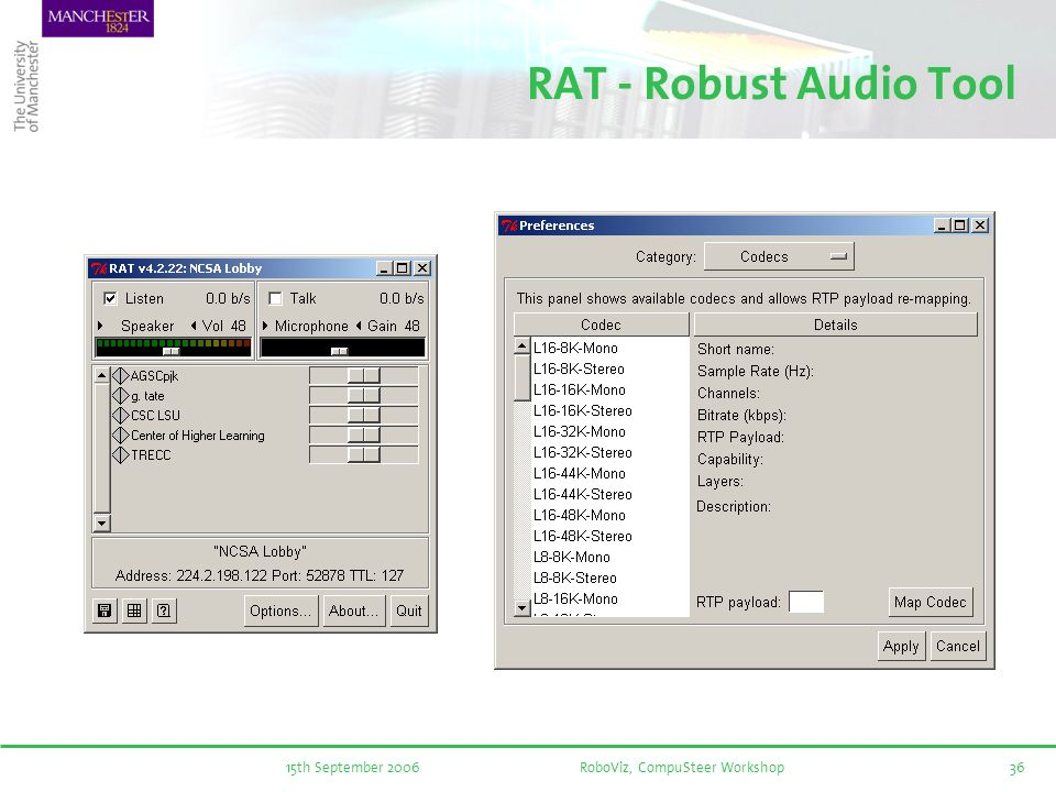 15th September 2006RoboViz, CompuSteer Workshop36 RAT - Robust Audio Tool