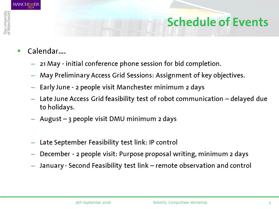 15th September 2006RoboViz, CompuSteer Workshop5 Schedule of Events Calendar….