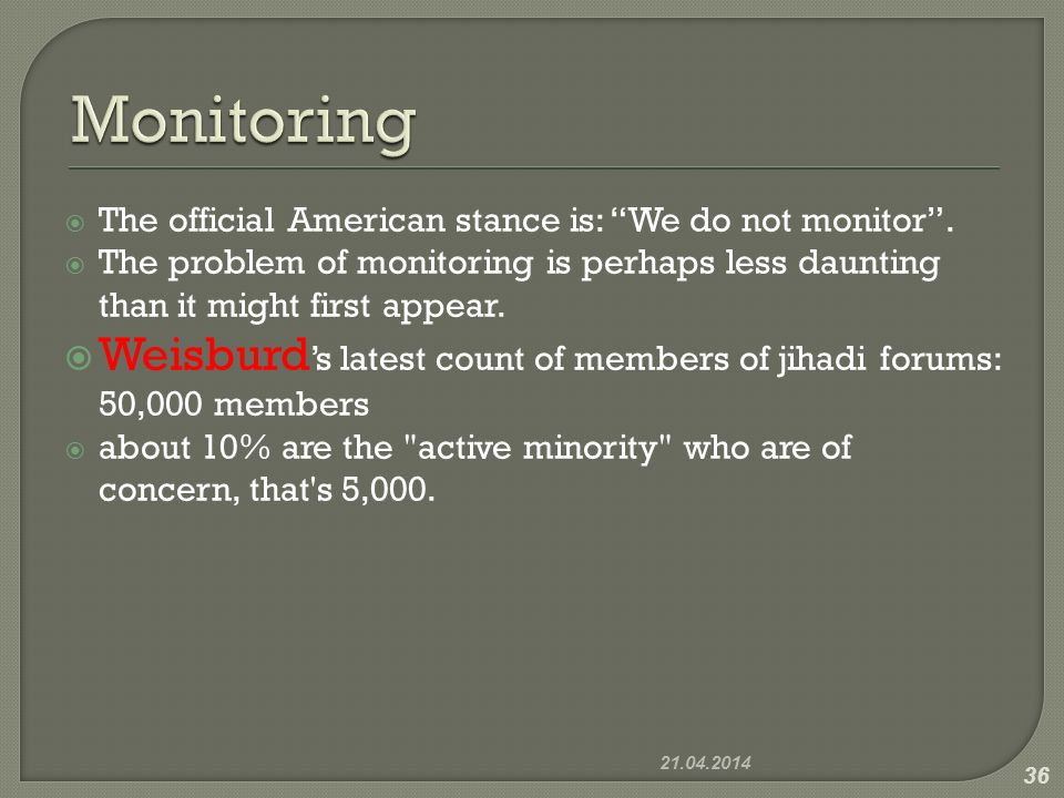 The official American stance is: We do not monitor. The problem of monitoring is perhaps less daunting than it might first appear. Weisburd s latest c