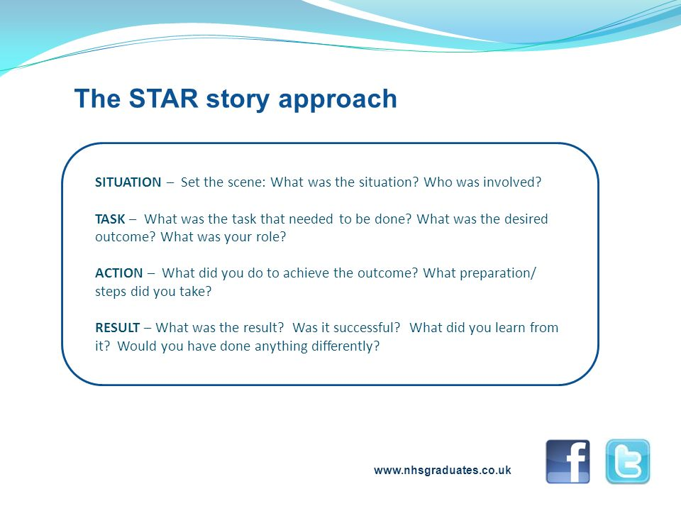 www.nhsgraduates.co.uk The STAR story approach SITUATION – Set the scene: What was the situation? Who was involved? TASK – What was the task that need