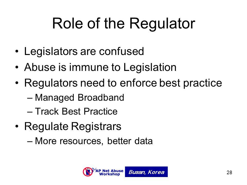 28 Role of the Regulator Legislators are confused Abuse is immune to Legislation Regulators need to enforce best practice –Managed Broadband –Track Best Practice Regulate Registrars –More resources, better data