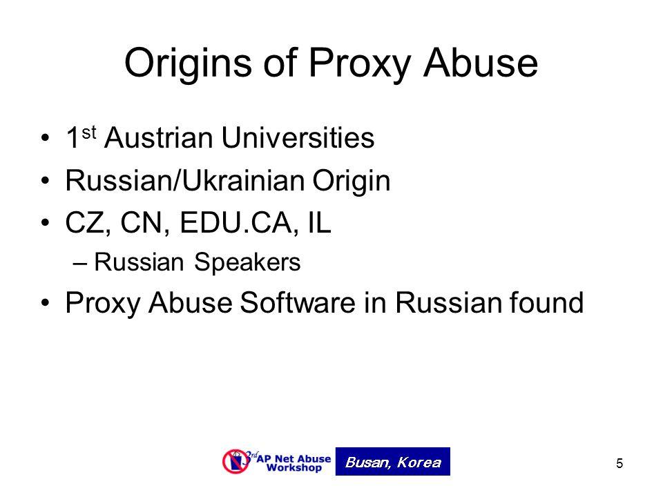 5 Origins of Proxy Abuse 1 st Austrian Universities Russian/Ukrainian Origin CZ, CN, EDU.CA, IL –Russian Speakers Proxy Abuse Software in Russian found