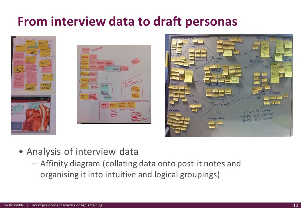 www.webcredible.co.uk 13 webcredible | user experience research design training 13 From interview data to draft personas Analysis of interview data –