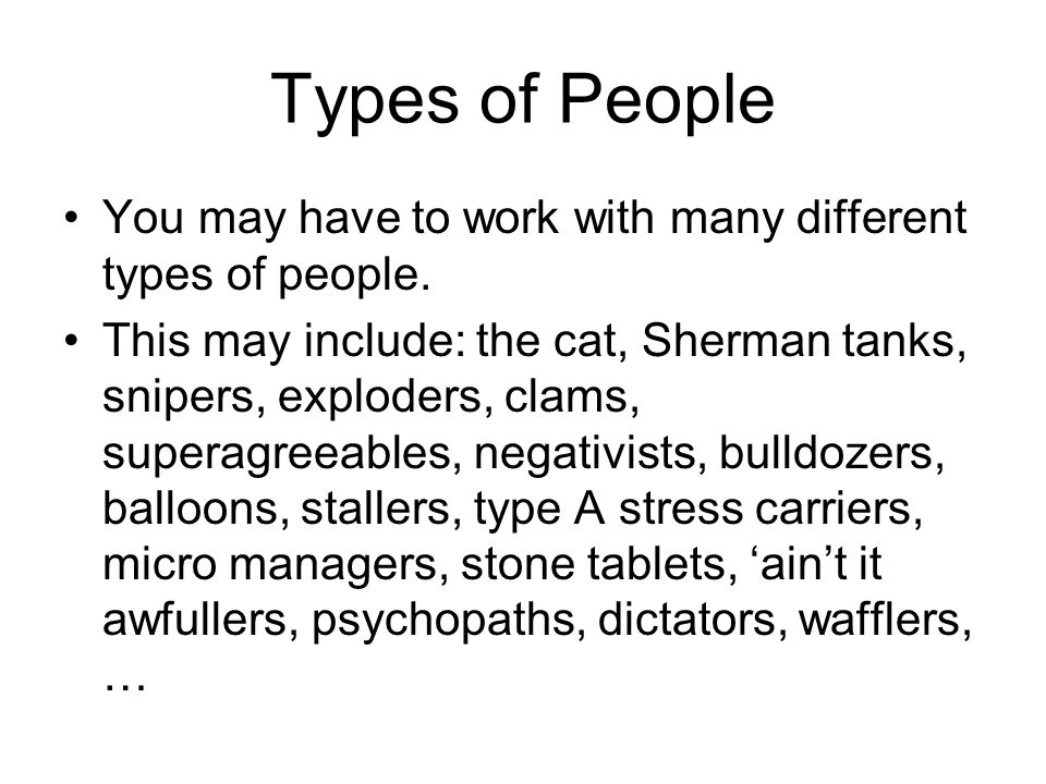 Types of People You may have to work with many different types of people. This may include: the cat, Sherman tanks, snipers, exploders, clams, superag