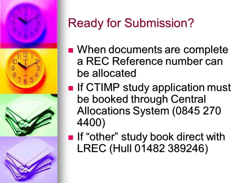 Ready for Submission? When documents are complete a REC Reference number can be allocated When documents are complete a REC Reference number can be al