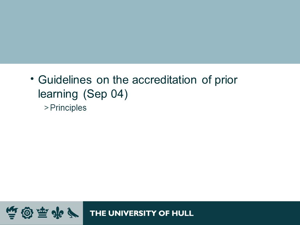 Guidelines on the accreditation of prior learning (Sep 04) >Principles