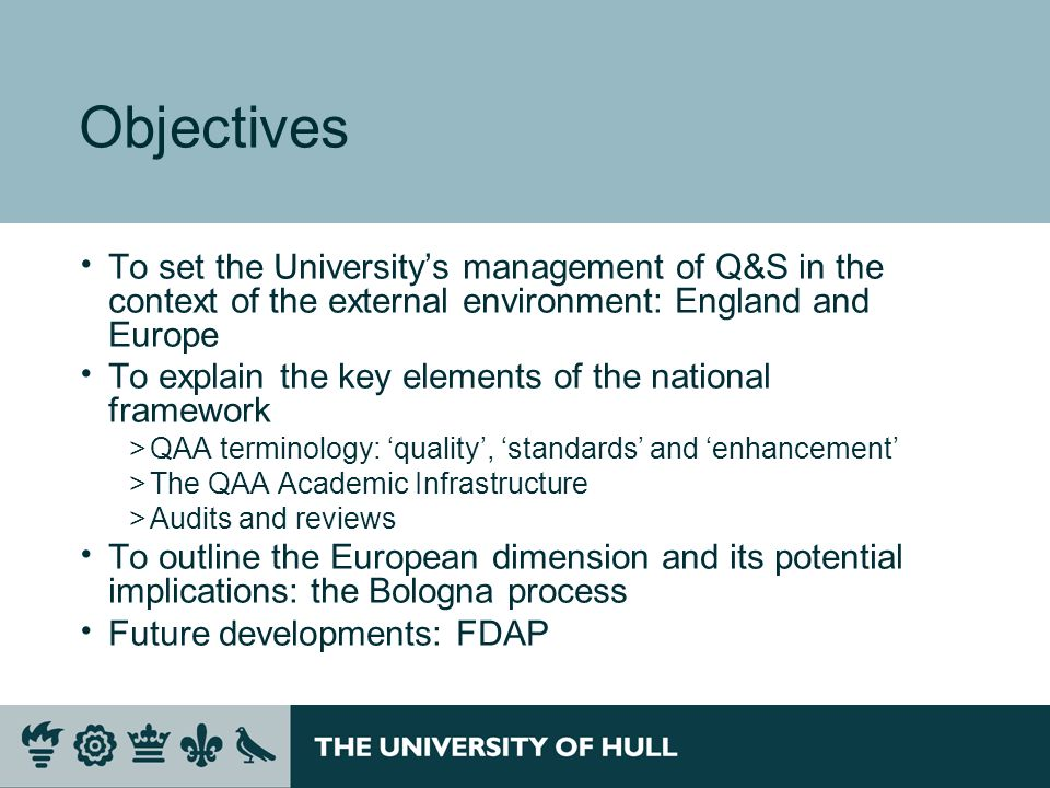Audits and reviews – QAA Current methodologies >Institutional Audit (& Collaborative Provision Audit) – of HEIs >Integrated Quality and Enhancement Review (IQER) – review of FECs –(HEFCE funded HE in FE) Recent experience >Institutional audit (2004) >Collaborative provision audit (2006) >Major Review of Healthcare (2004, 2006) >Special Review of Research Degree Provision (2005) >IQER Pilot, Doncaster College (2007) >Foundation Degree Reviews (2003, 2005) Now defunct >Academic (subject) Review