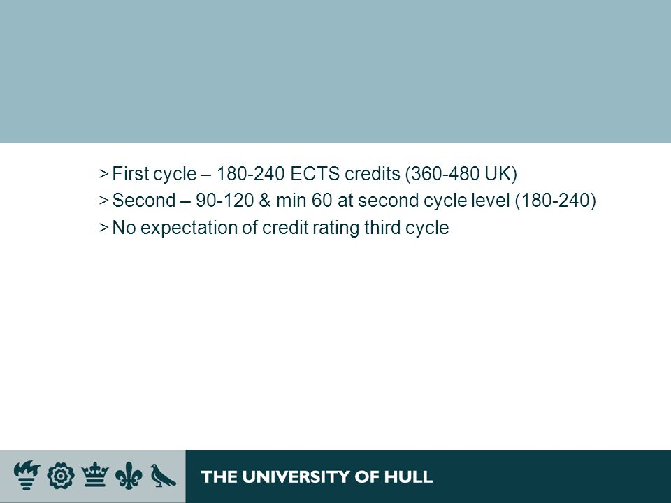 >First cycle – 180-240 ECTS credits (360-480 UK) >Second – 90-120 & min 60 at second cycle level (180-240) >No expectation of credit rating third cycl