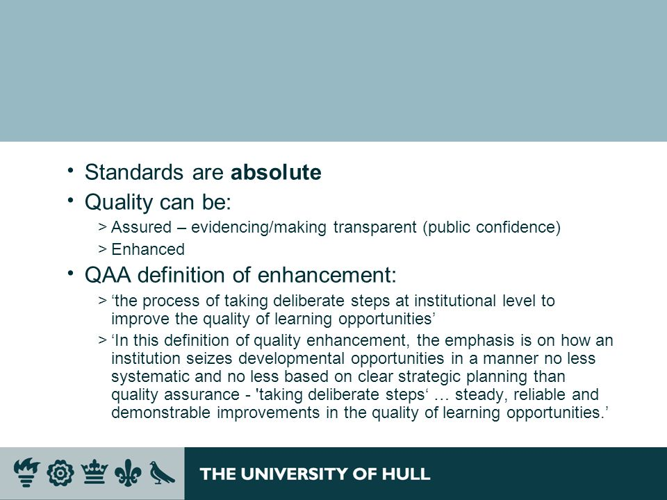Recommendations - As in 2004, the audit team will be empowered to make recommendations, categorised as: >Essential >Advisable, or >Desirable Features of good practice >The audit team will seek to identify features which it considers make a particularly positive contribution to the institutions approach to managing Q&S