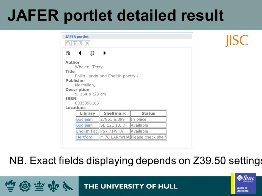JAFER portlet detailed result NB. Exact fields displaying depends on Z39.50 settings