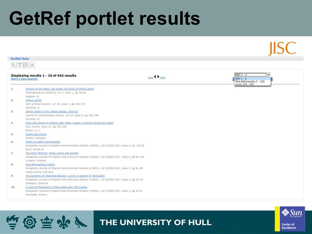 GetRef portlet results