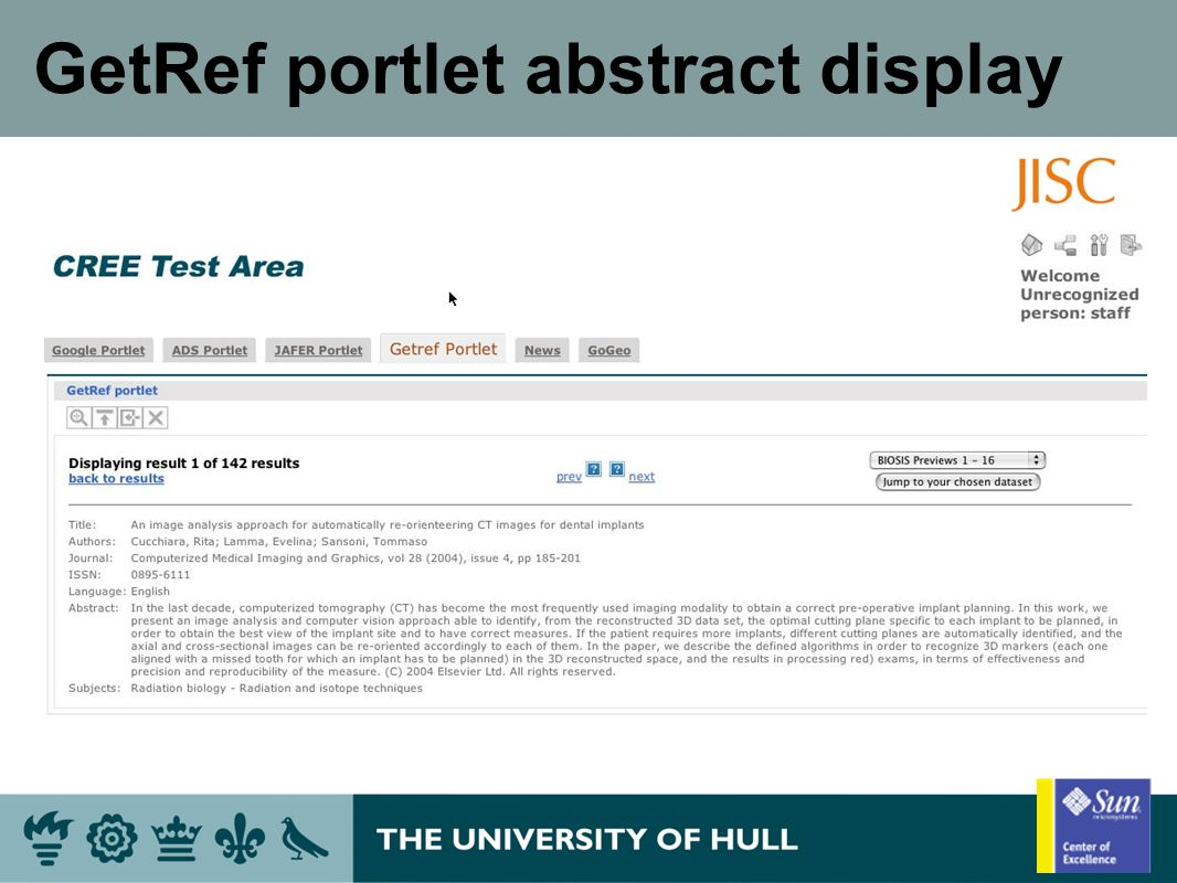 GetRef portlet abstract display