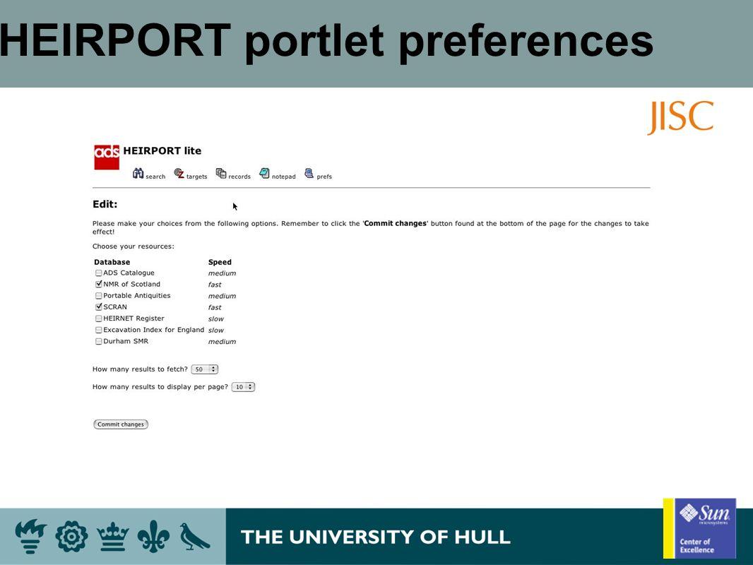 HEIRPORT portlet preferences
