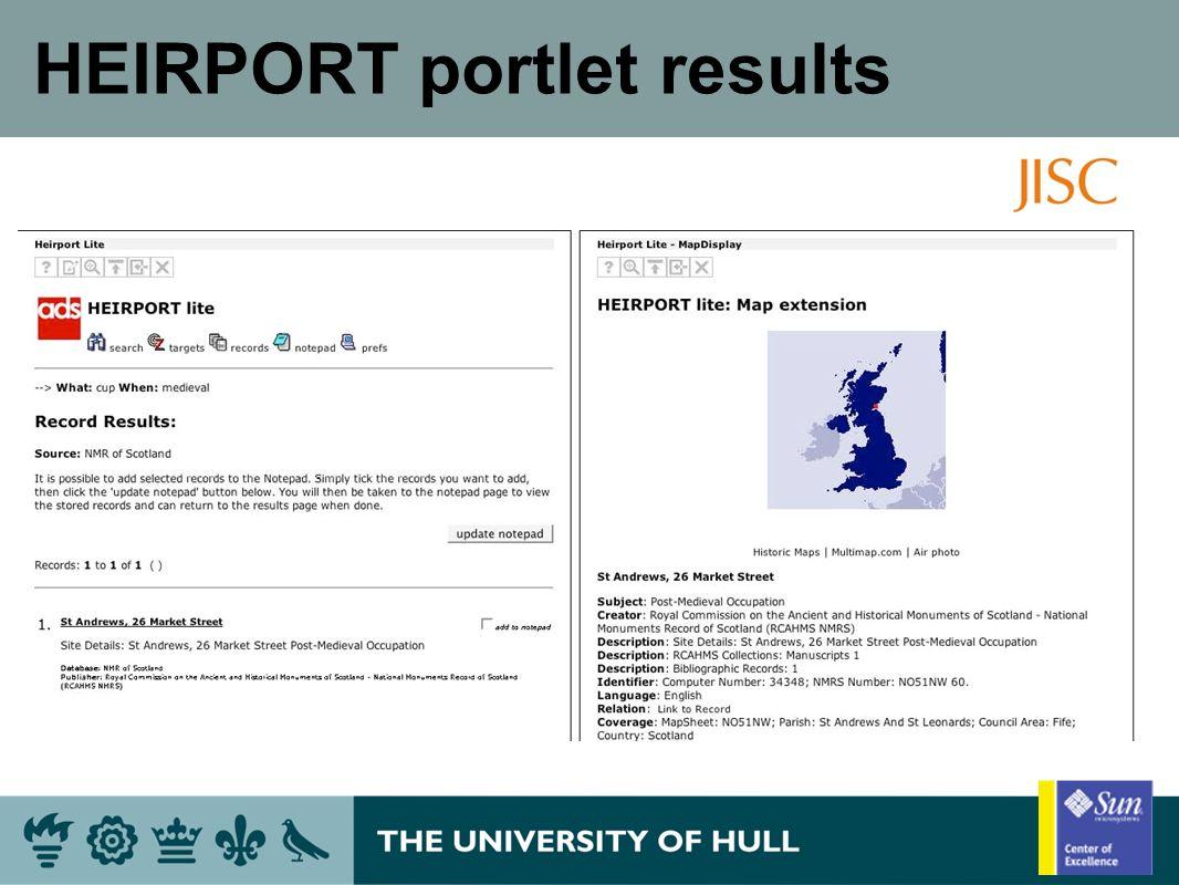 HEIRPORT portlet results