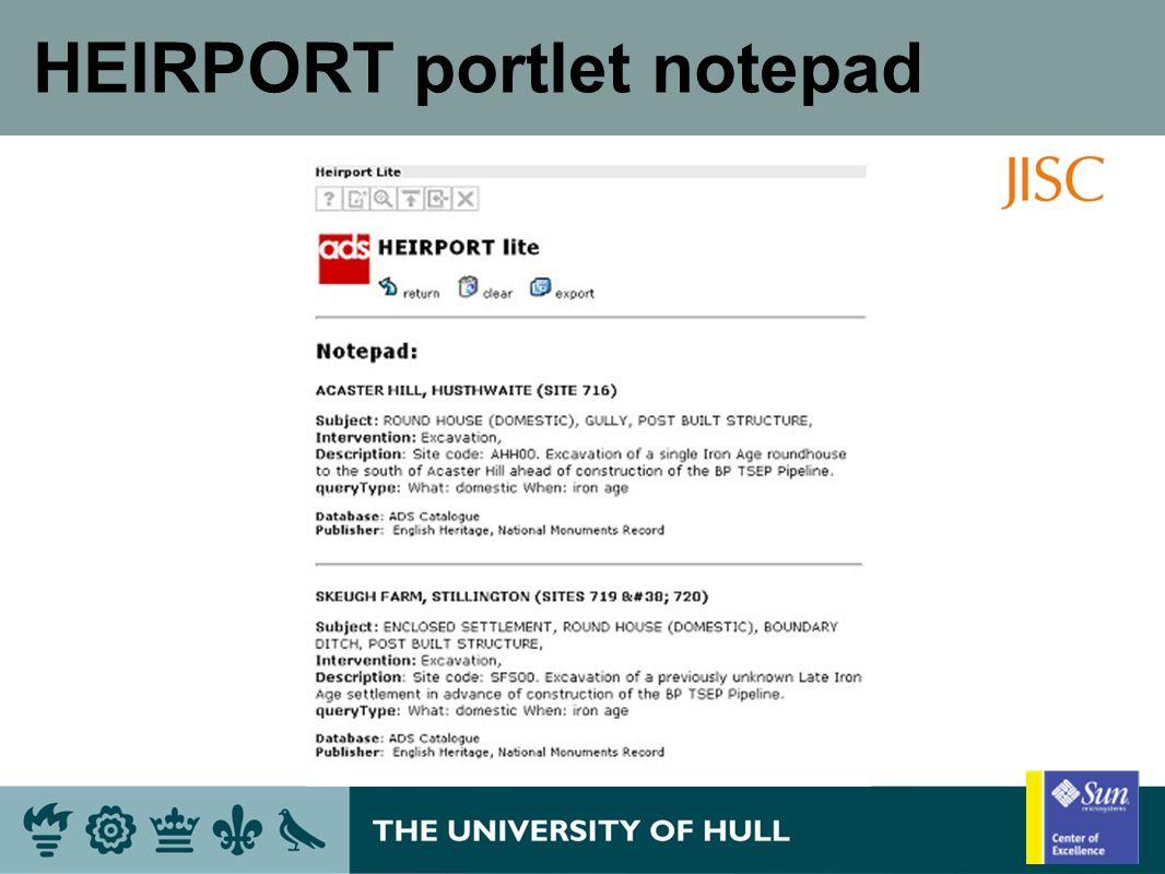 HEIRPORT portlet notepad