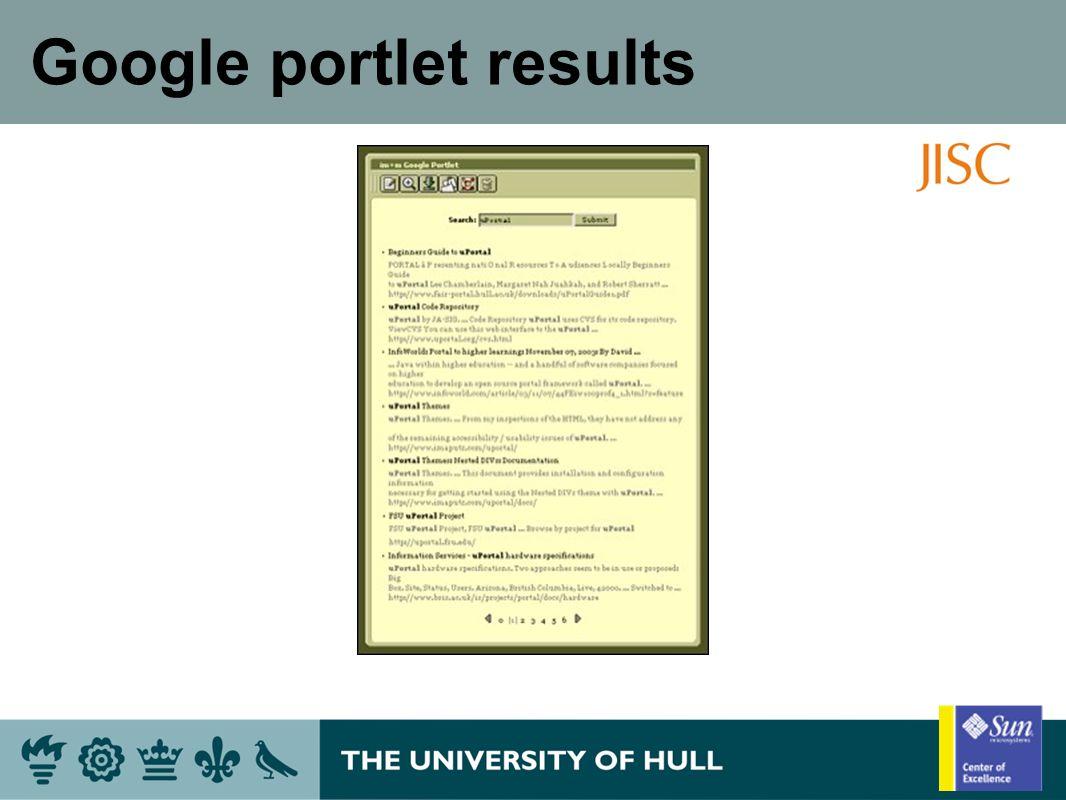 Google portlet results
