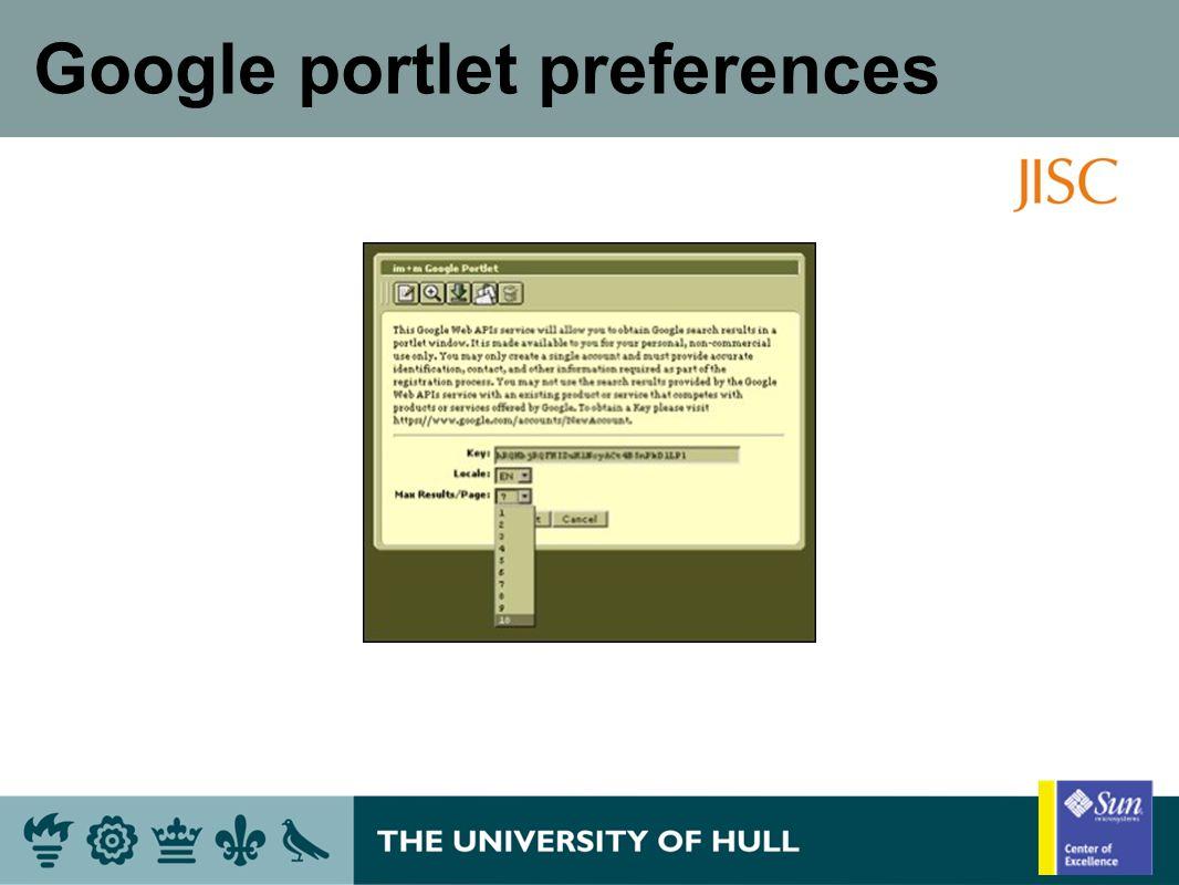 Google portlet preferences