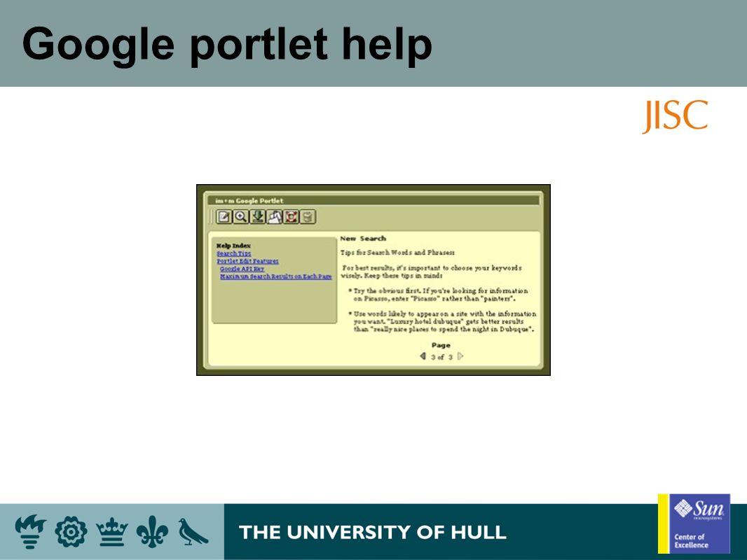 Google portlet help