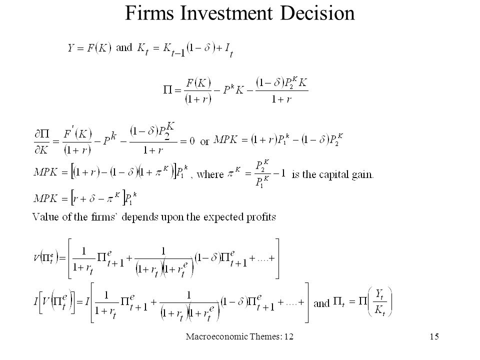 Macroeconomic Themes: 1215 Firms Investment Decision