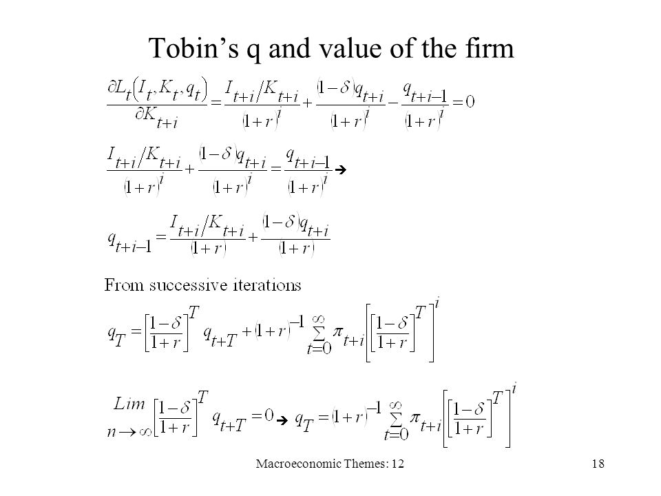 Macroeconomic Themes: 1218 Tobins q and value of the firm