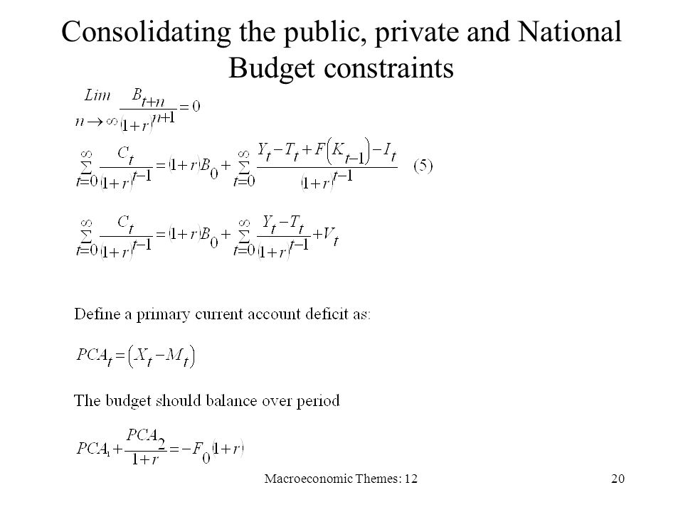 Macroeconomic Themes: 1220 Consolidating the public, private and National Budget constraints