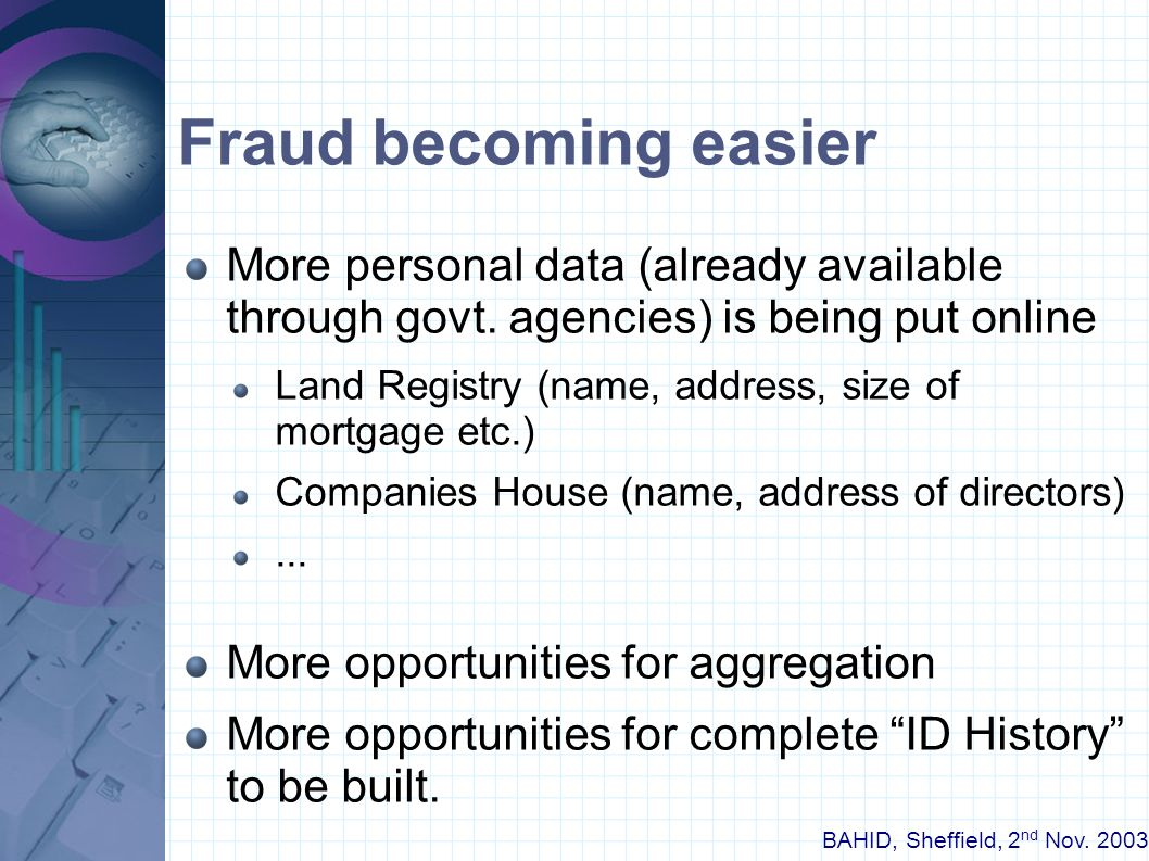 BAHID, Sheffield, 2 nd Nov. 2003 How did they get away with it ? Banks, credit reference agencies have well- known process for verifying ID. Check ele