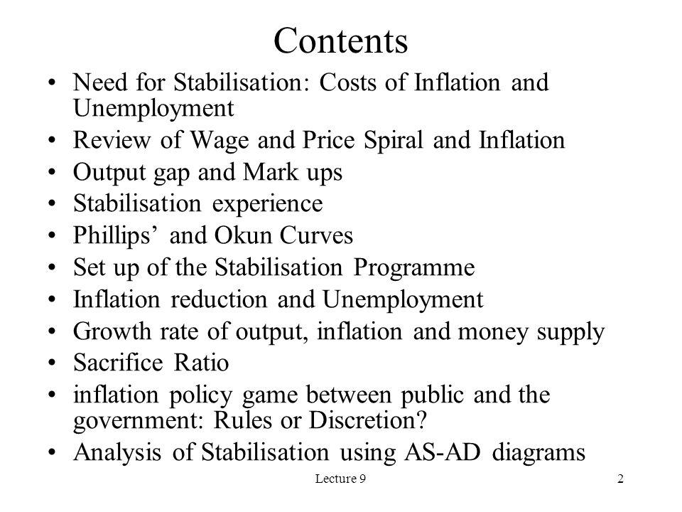 Lecture 923 Disinflation (Stabilisation Program
