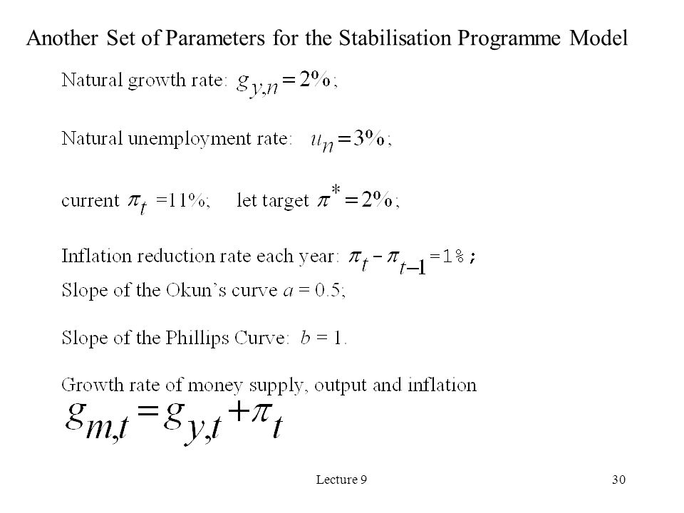 Lecture 930 Another Set of Parameters for the Stabilisation Programme Model