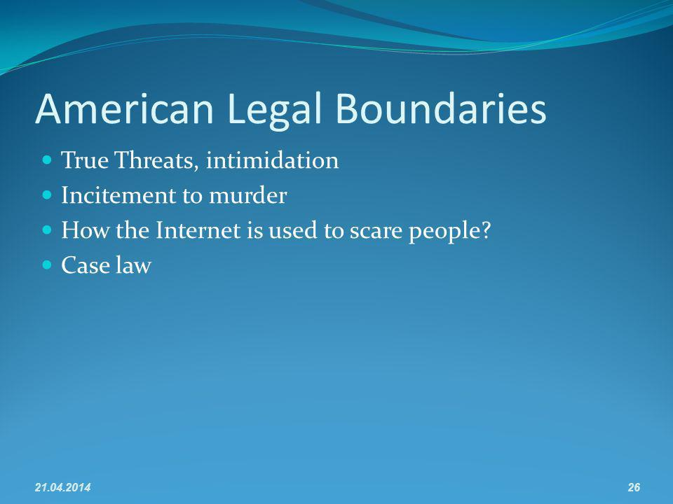 American Legal Boundaries True Threats, intimidation Incitement to murder How the Internet is used to scare people.
