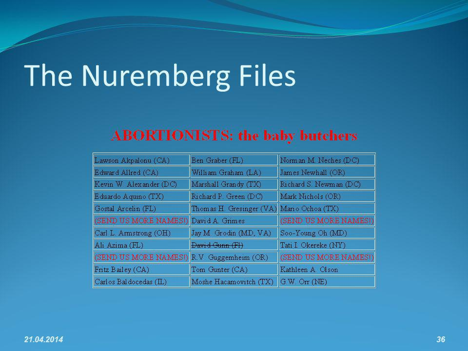 The Nuremberg Files 21.04.201436