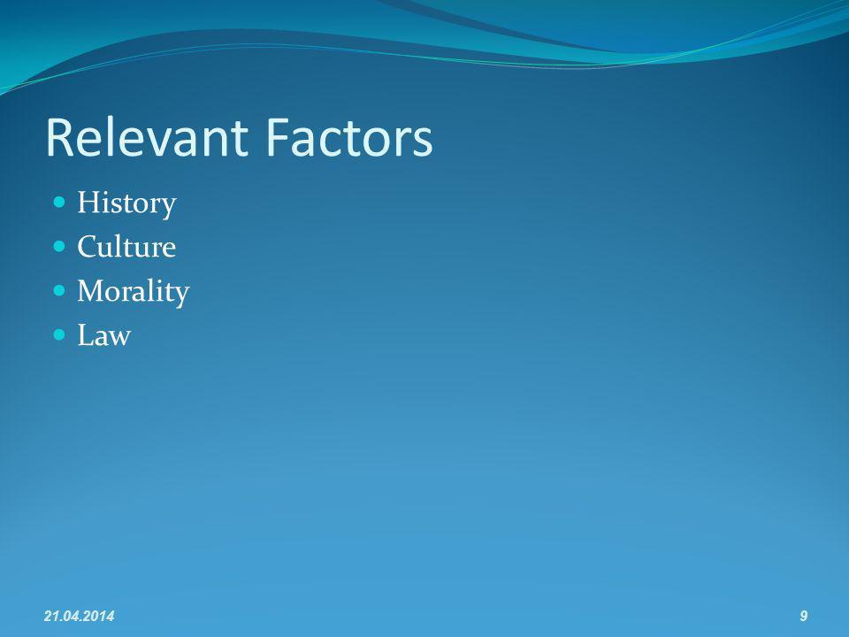 Relevant Factors History Culture Morality Law 21.04.20149