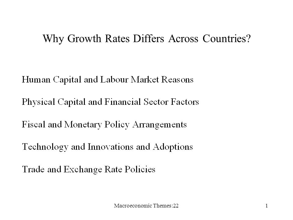 Macroeconomic Themes:221 Why Growth Rates Differs Across Countries