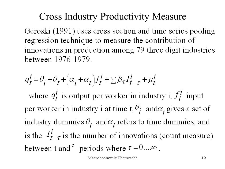 Macroeconomic Themes:2219 Cross Industry Productivity Measure