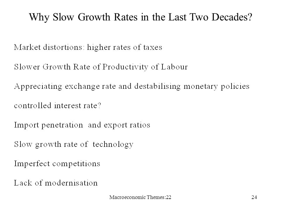 Macroeconomic Themes:2224 Why Slow Growth Rates in the Last Two Decades