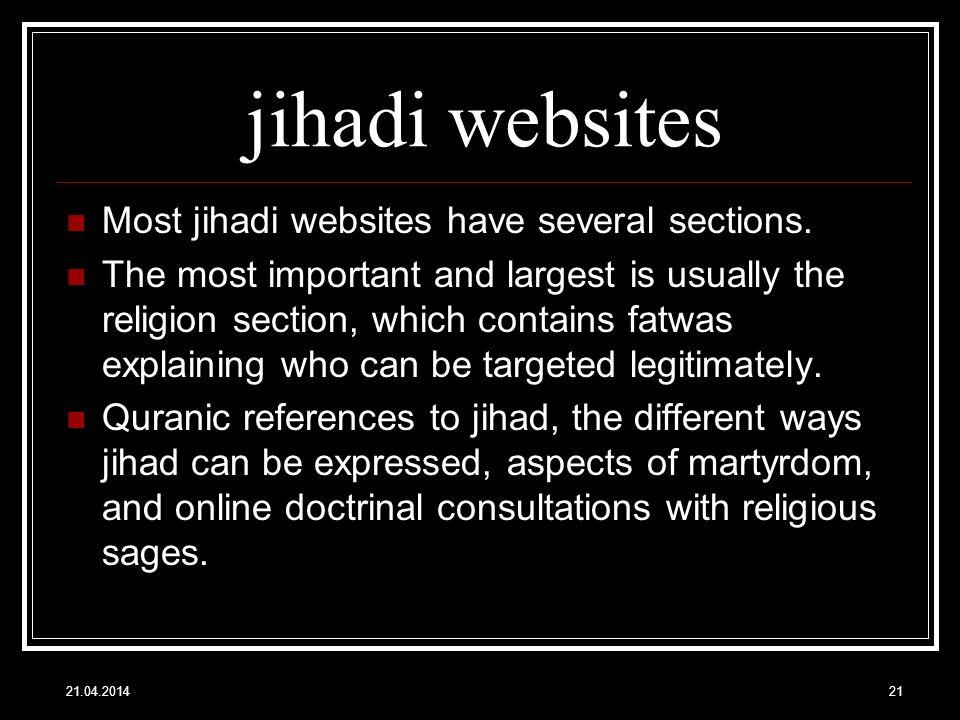 jihadi websites Most jihadi websites have several sections.