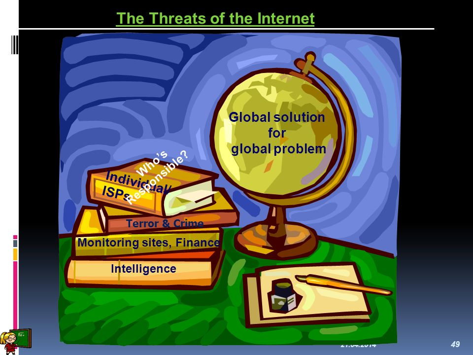 21.04.2014 49 The Threats of the Internet Global solution for global problem Intelligence Monitoring sites, Finance Individual/ ISPs Whos Responsible.
