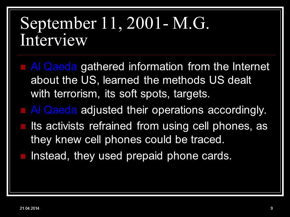 September 11, 2001- M.G.