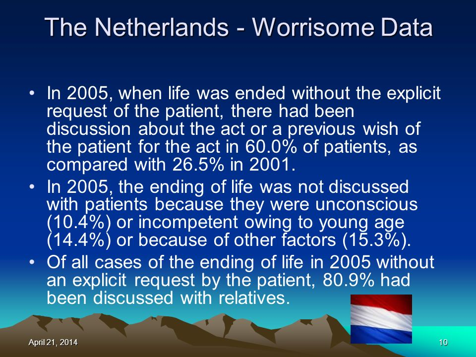 The Netherlands - Worrisome Data In 2005, when life was ended without the explicit request of the patient, there had been discussion about the act or a previous wish of the patient for the act in 60.0% of patients, as compared with 26.5% in 2001.