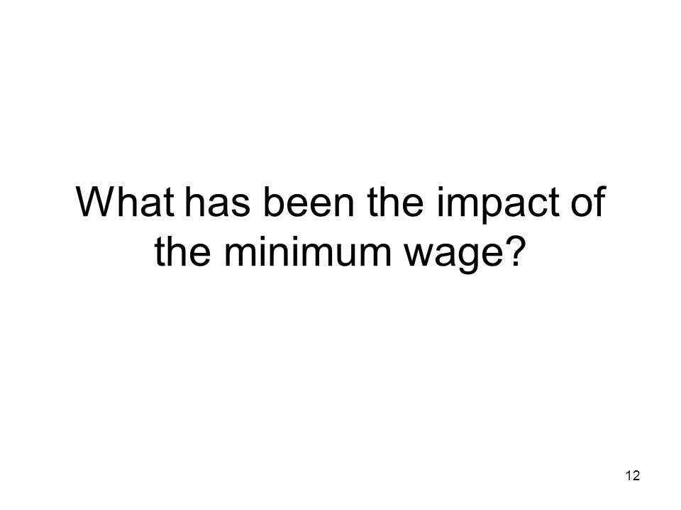 12 What has been the impact of the minimum wage