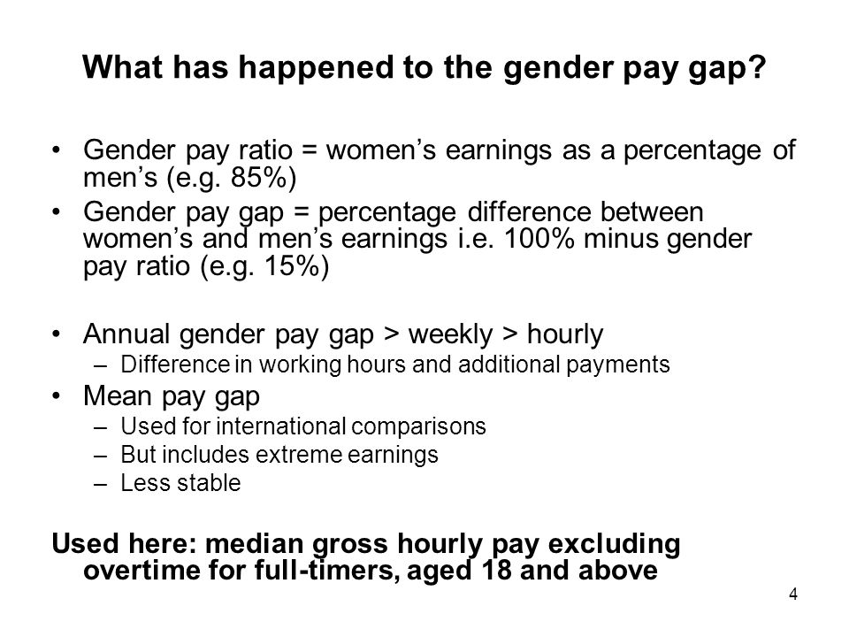4 What has happened to the gender pay gap.