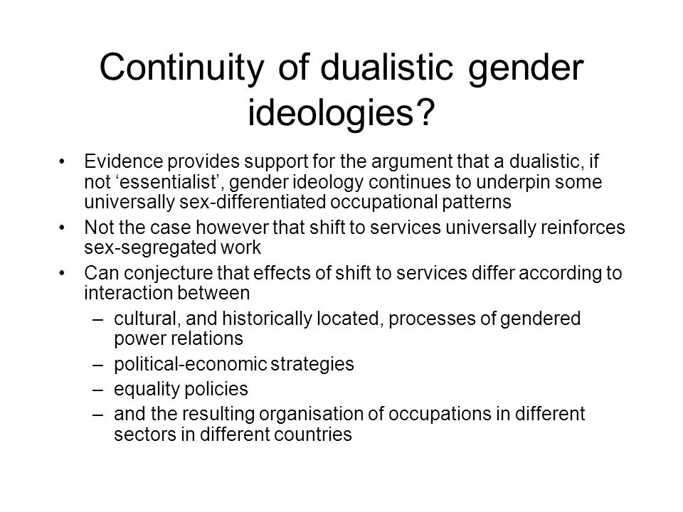 Continuity of dualistic gender ideologies? Evidence provides support for the argument that a dualistic, if not essentialist, gender ideology continues