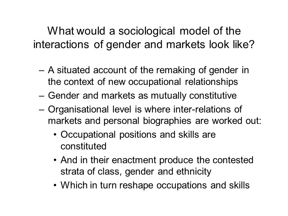 What would a sociological model of the interactions of gender and markets look like? –A situated account of the remaking of gender in the context of n
