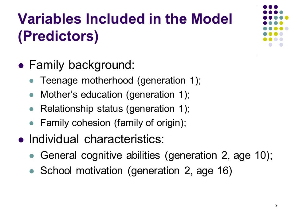 9 Variables Included in the Model (Predictors) Family background: Teenage motherhood (generation 1); Mothers education (generation 1); Relationship st